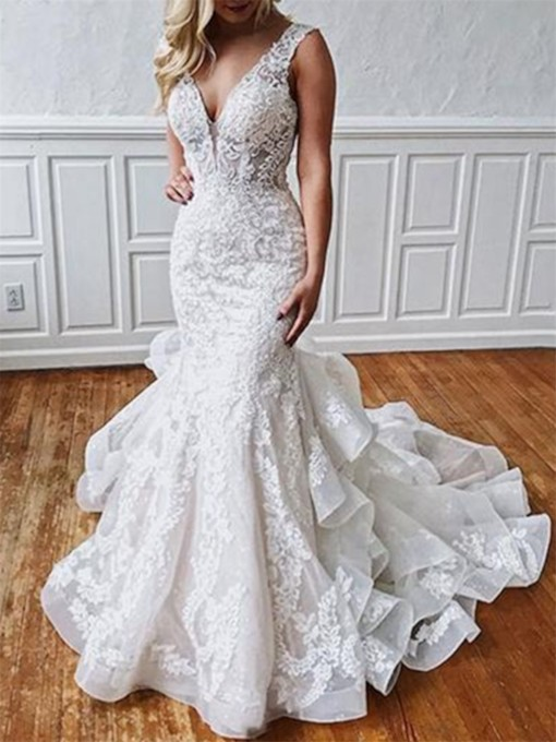 Open Back Ruffles Appliques Mermaid Wedding Dress 2019