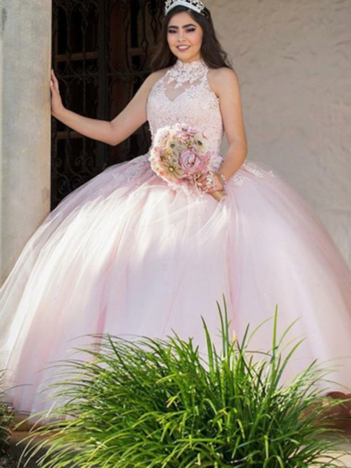 High Neck Floor-Length Sleeveless Appliques Quinceanera Dress 2019