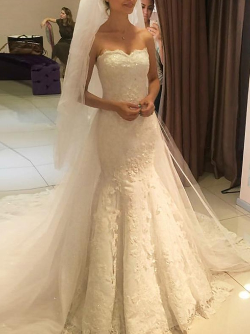 Sweetheart Appliques Lace Mermaid Wedding Dress 2019