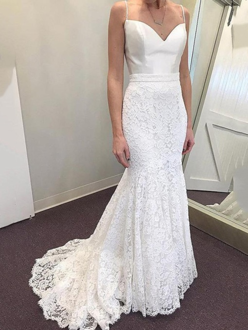 Sweep Train Spaghetti Straps Mermaid Lace Wedding Dress 2019