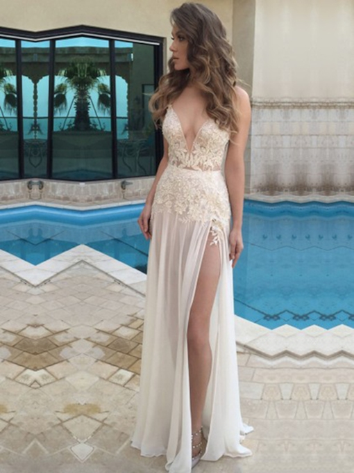A-Line V-Neck Sleeveless Floor-Length Evening Dress 2019