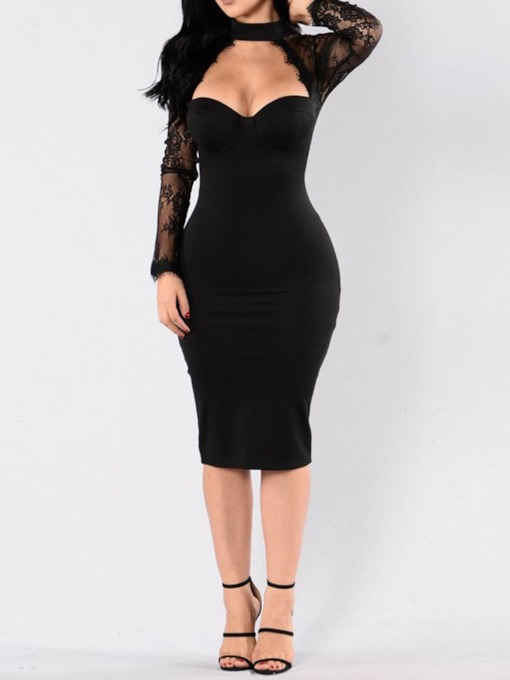 Long Sleeve See-Through Pullover Women's Bodycon Dress
