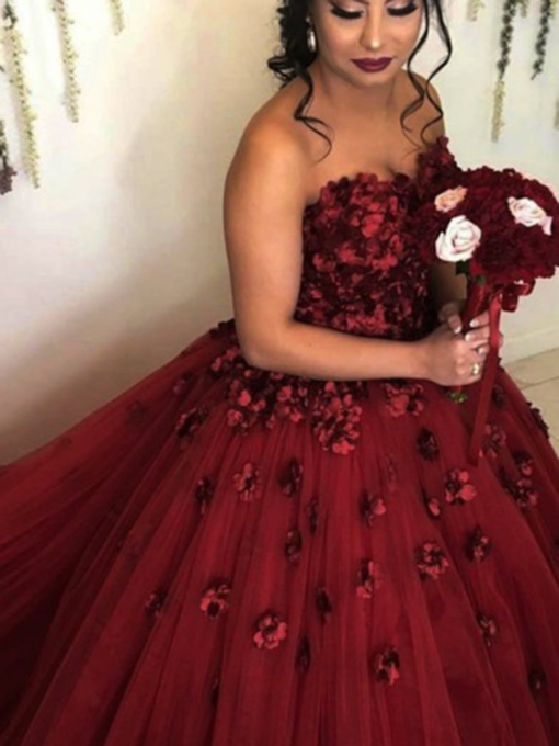 Sweetheart Flowers Sleeveless Floor-Length Quinceanera Dress 2019