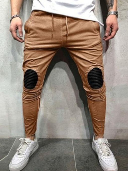 Color Block Patchwork Mid Waist Men's Casual Pants