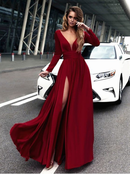 Long Sleeves V-Neck Split-Front Evening Dress 2019