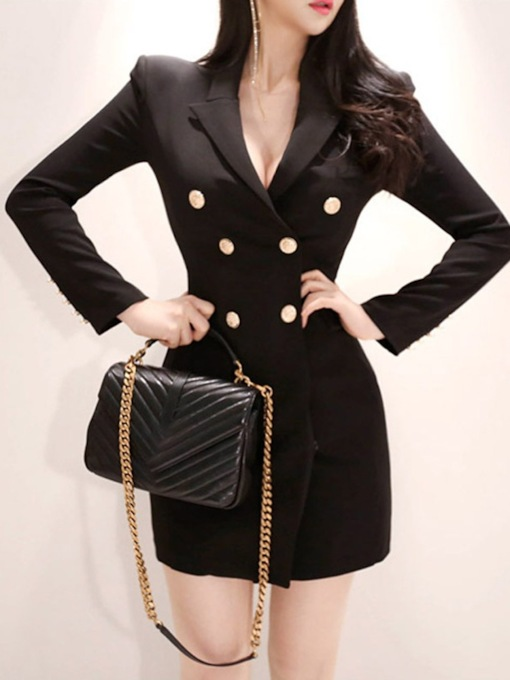 Notched Lapel Plain Double-Breasted Women's Blazer