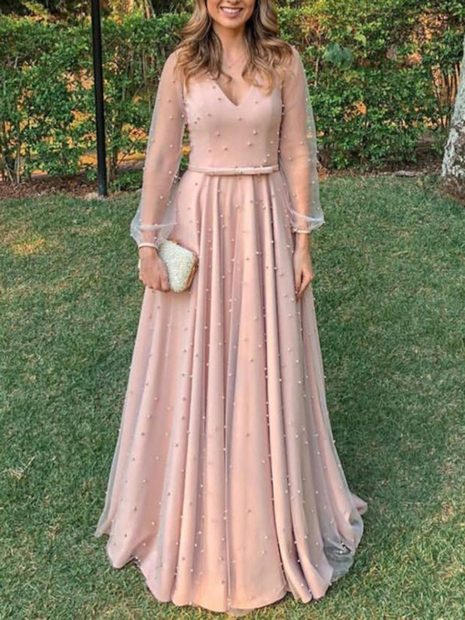Long Sleeves V-Neck Pearls Mother of the Bride Dress 2019