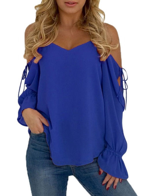 Lace-Up Flare Sleeve Plain Long Sleeve Women's Blouse