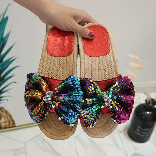 Slip-On Sequin Flat Trendy Women's Slippers