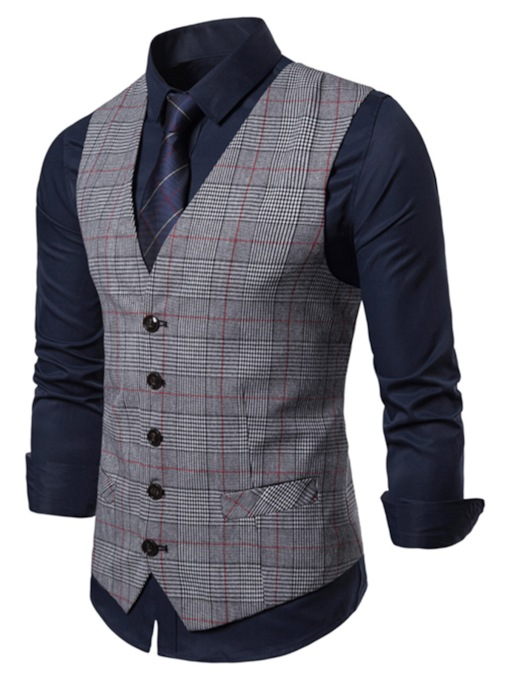 V-Neck Plaid Single-Breasted Men's Waistcoat