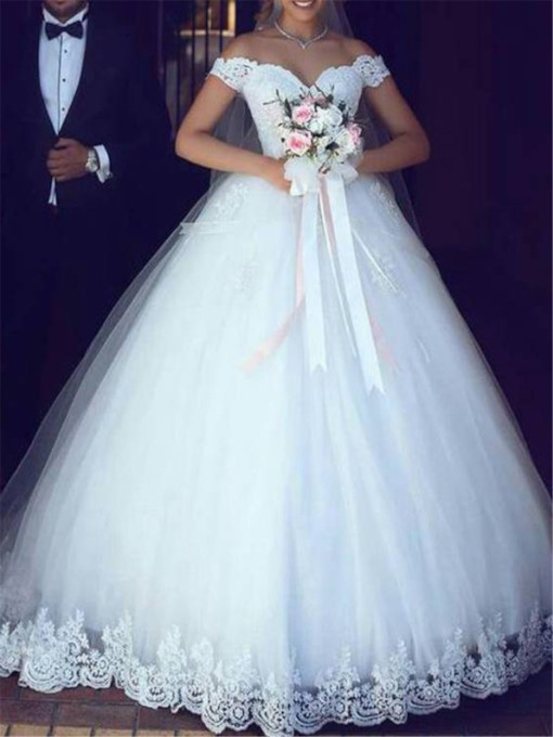Ball Gown Appliques Off-The-Shoulder Wedding Dress 2019