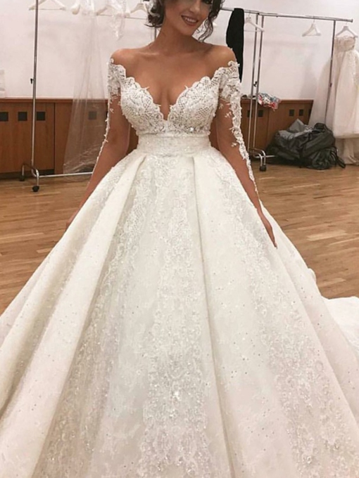 Long Sleeves Sequins Appliques Ball Gown Wedding Dress 2019