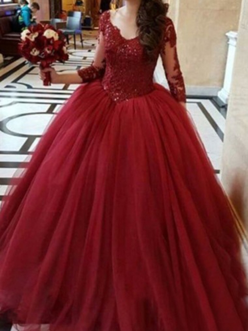 Appliques Floor-Length Ball Gown 3/4 Length Sleeves Quinceanera Dress