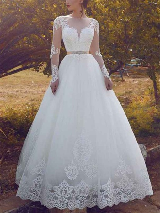 Long Sleeves Beading Appliques Wedding Dress 2019