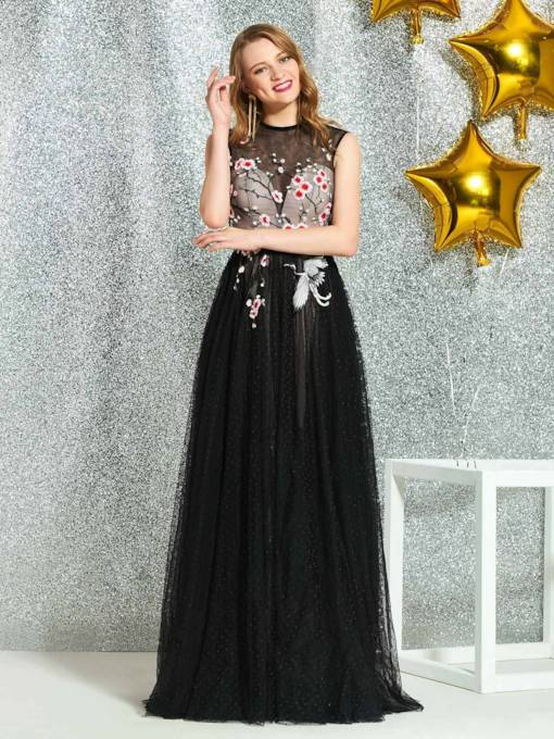 Floor-Length A-Line Appliques Sleeveless Prom Dress 2019