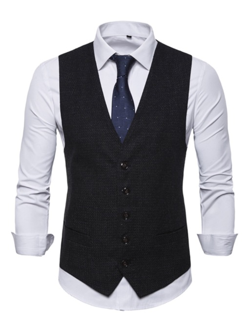 V-Neck Plain Single-Breasted Men's Waistcoat