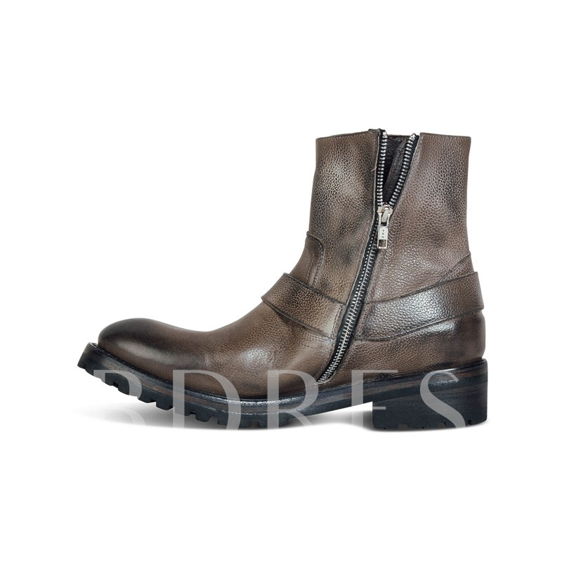 Mid-Calf Side Zipper Round Toe Vintage Men's PU Boots