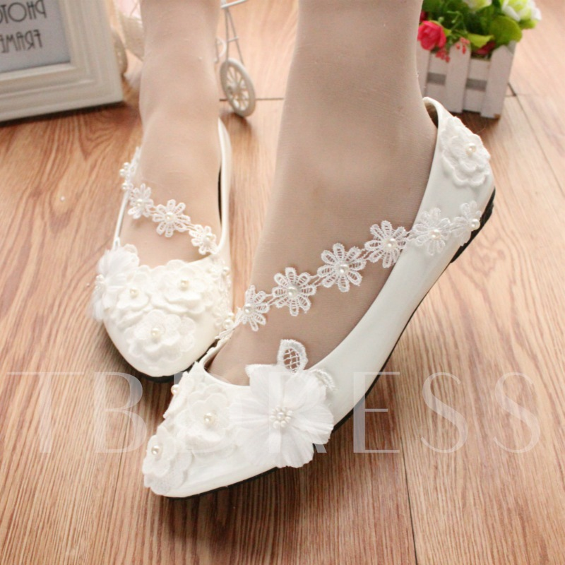 Round Toe Flat Beads Slip-On Low-Cut Upper Wedding Shoes