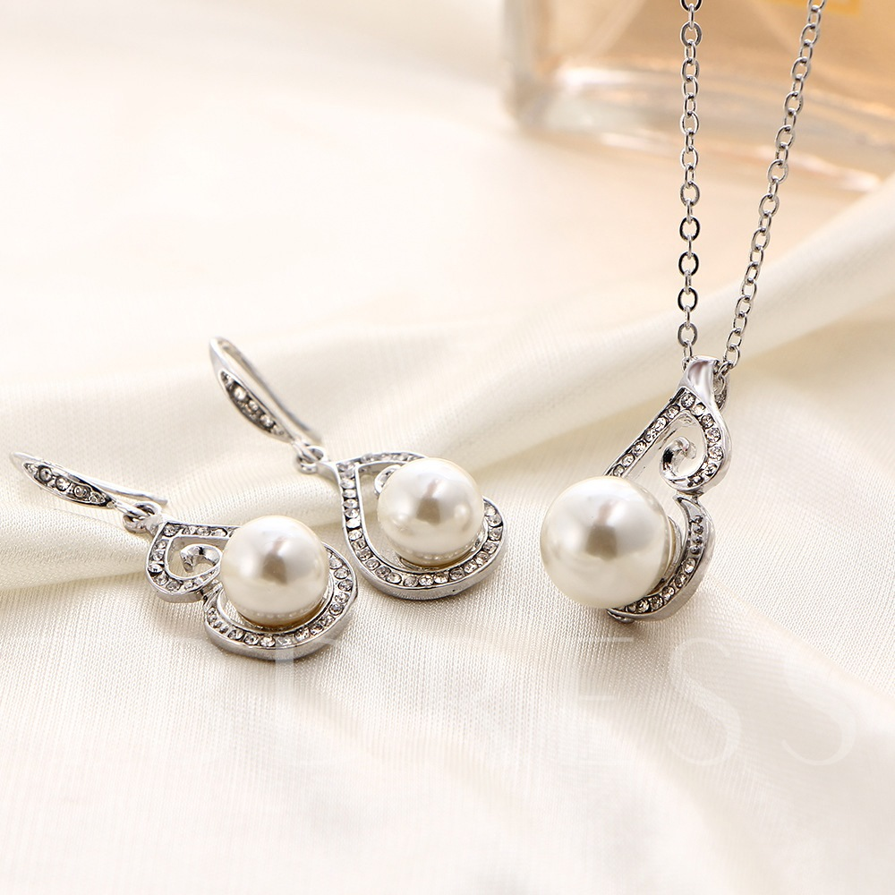 Necklace Pearl Inlaid Floral Wedding Jewelry Sets