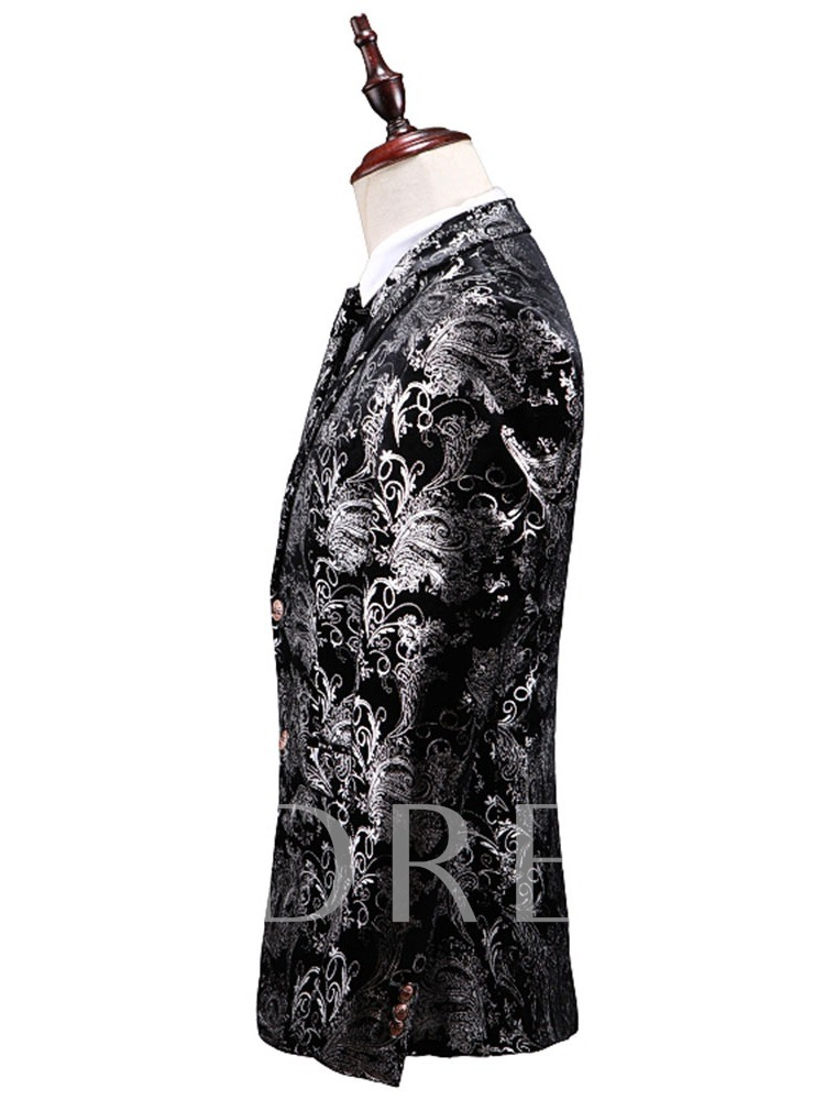 Blazer Floral Single-Breasted Men's Dress Suit