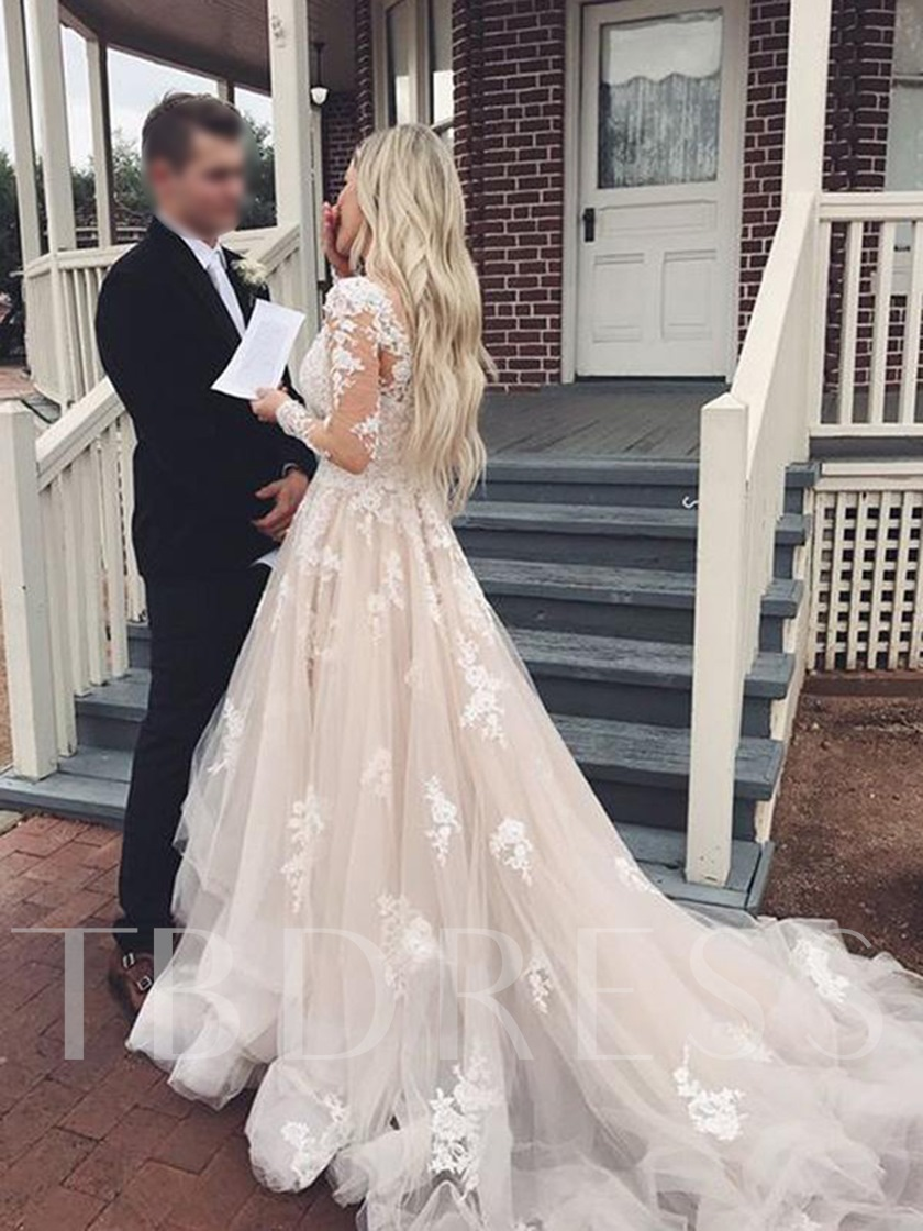 Cascading Ruffles Appliques Long Sleeve Wedding Dress 2019