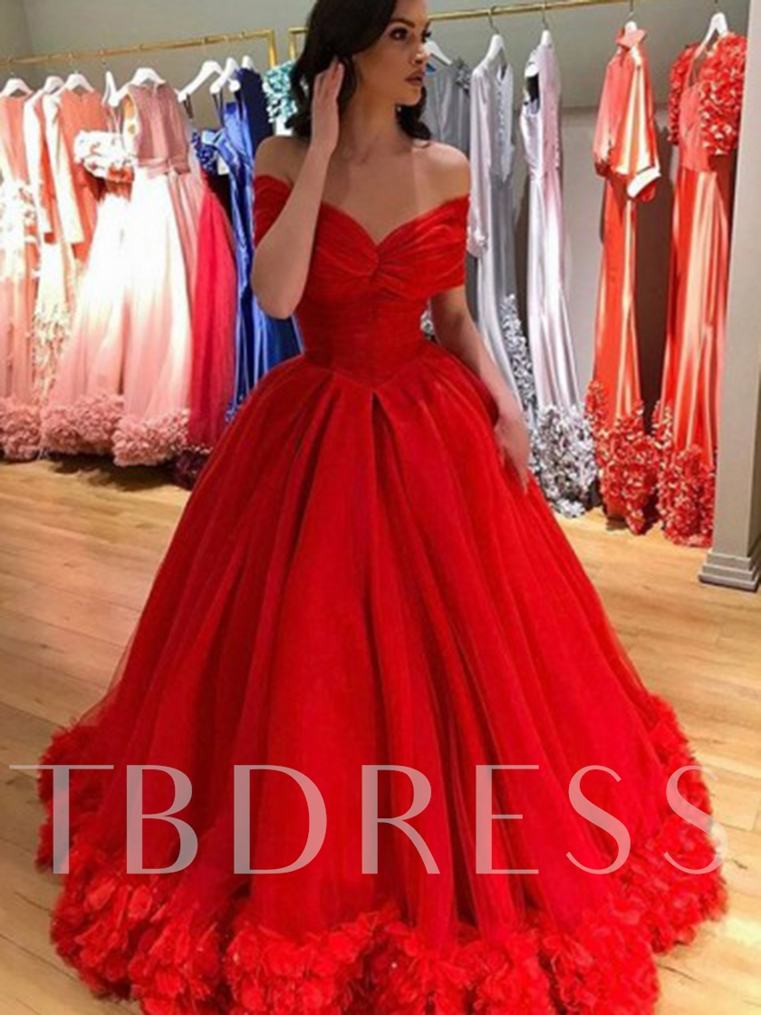 Flowers Ball Gown Short Sleeves Prom Dress 2019