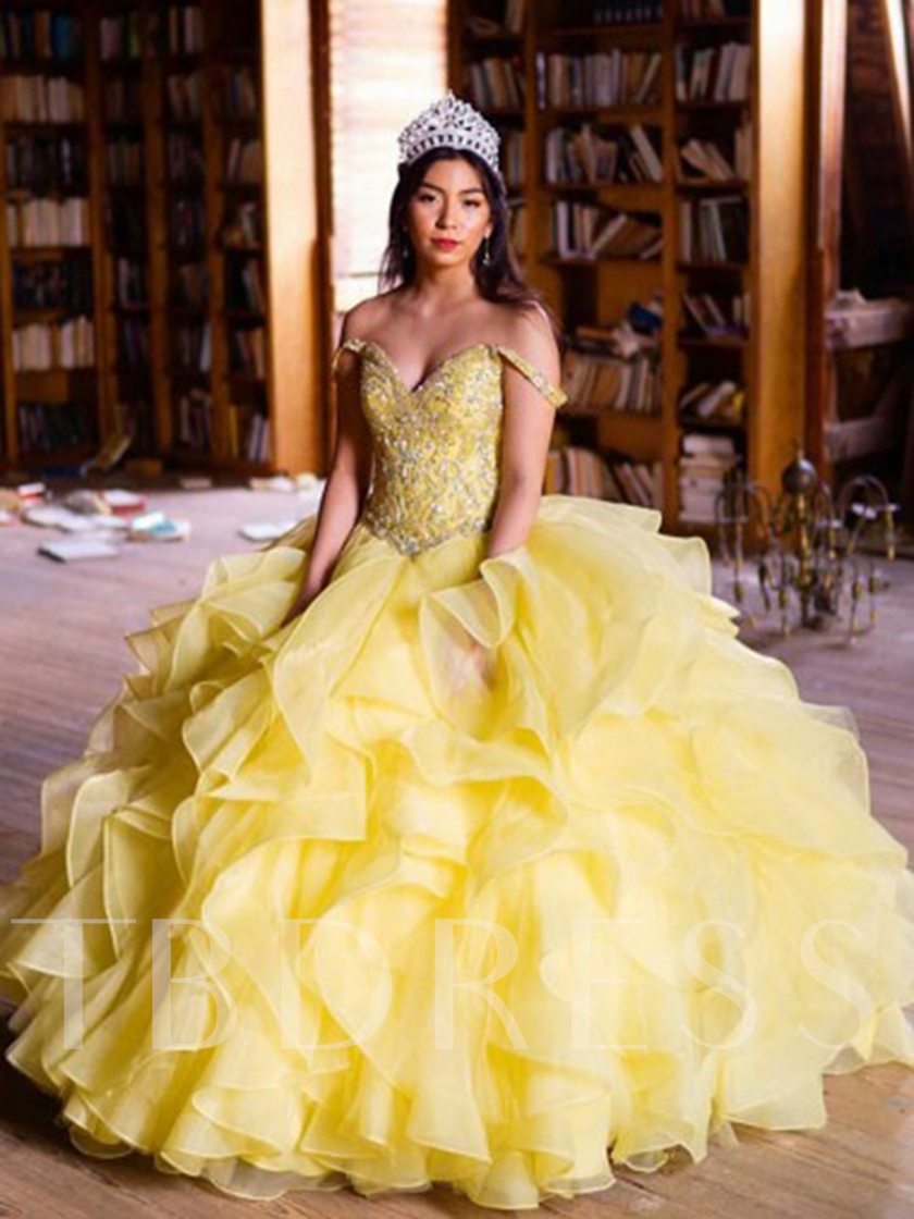 Ball Gown Off-The-Shoulder Floor-Length Beading Quinceanera Dress 2019