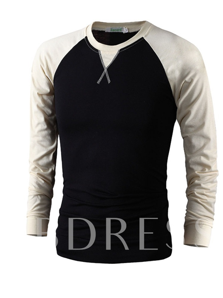 Patchwork Casual Round Neck Color Block Slim Men's T-shirt