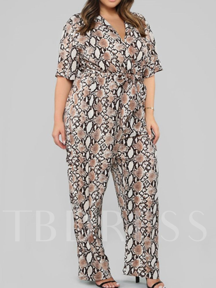 Sexy Full Length Lace-Up Serpentine Straight Women's Jumpsuit