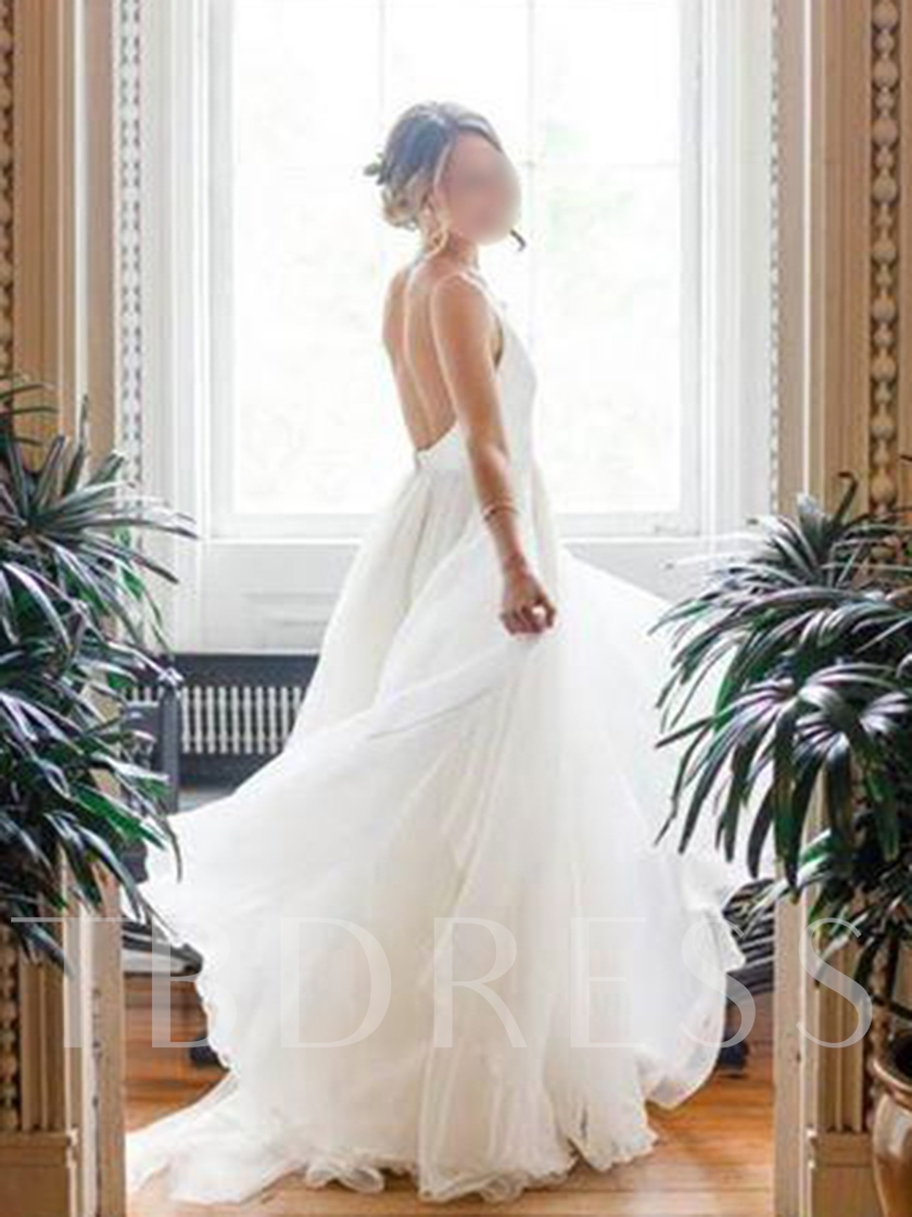 A-Line V-Neck Backless Wedding Dress 2019