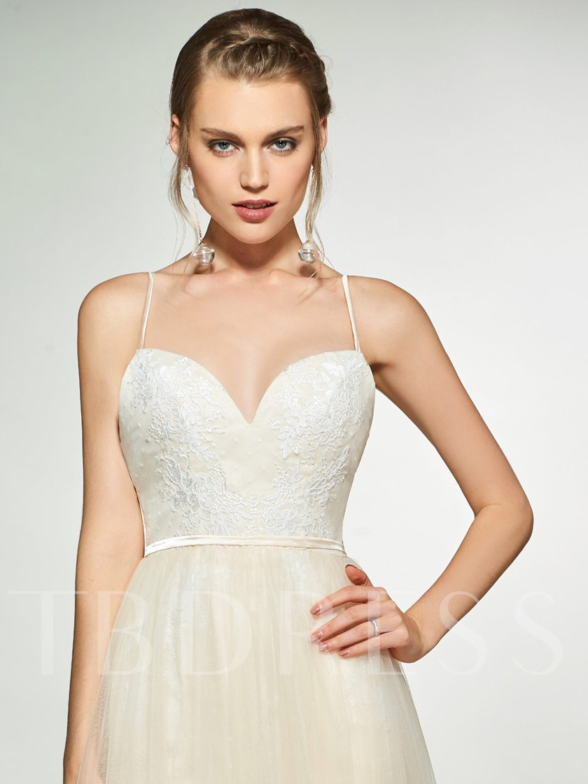 Spaghetti Straps Lace Outdoor Wedding Dress 2019
