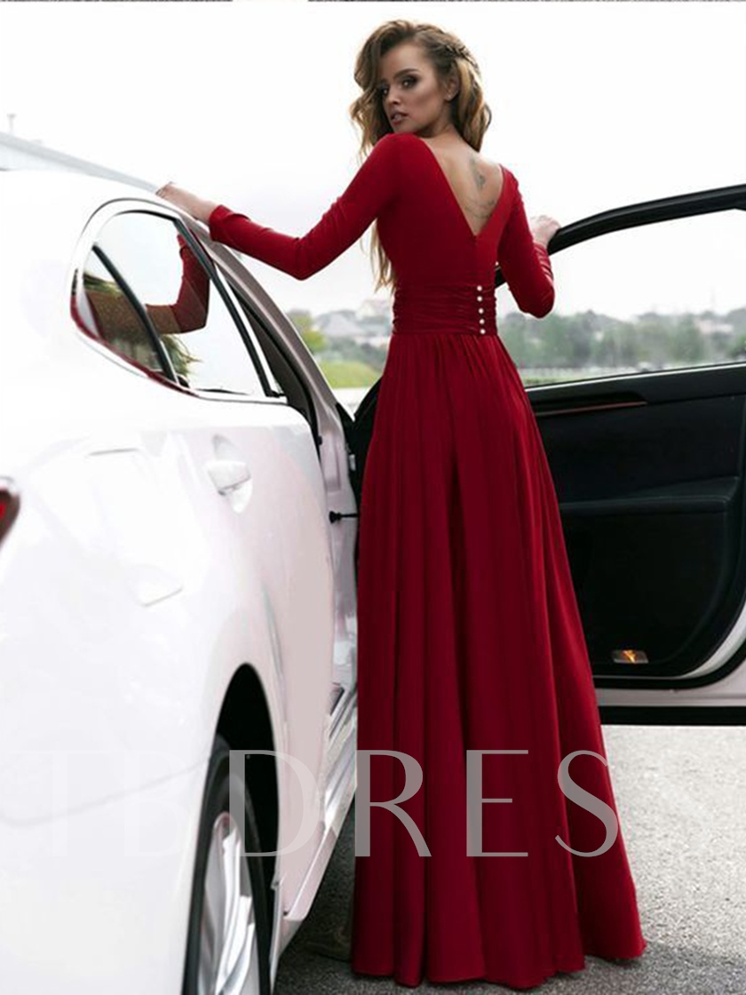 V-Neck Split-Front Long Sleeves Evening Dress 2019