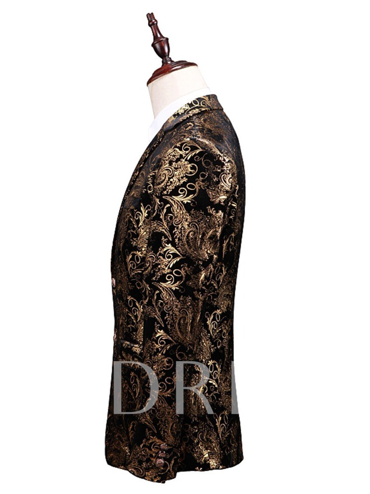 Floral Blazer Single-Breasted Men's Dress Suit