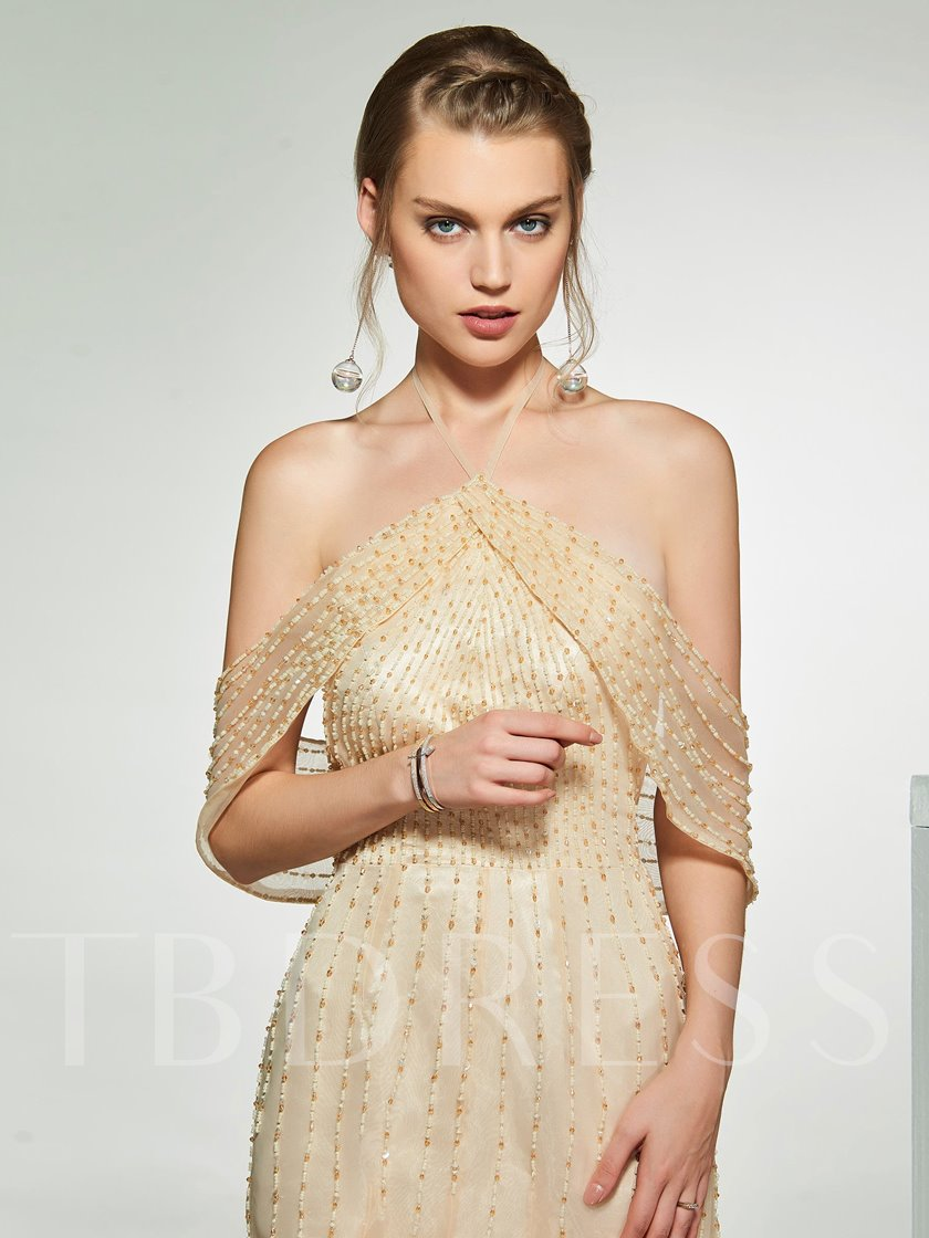 Halter Beading Cold Shoulder Wedding Dress 2019