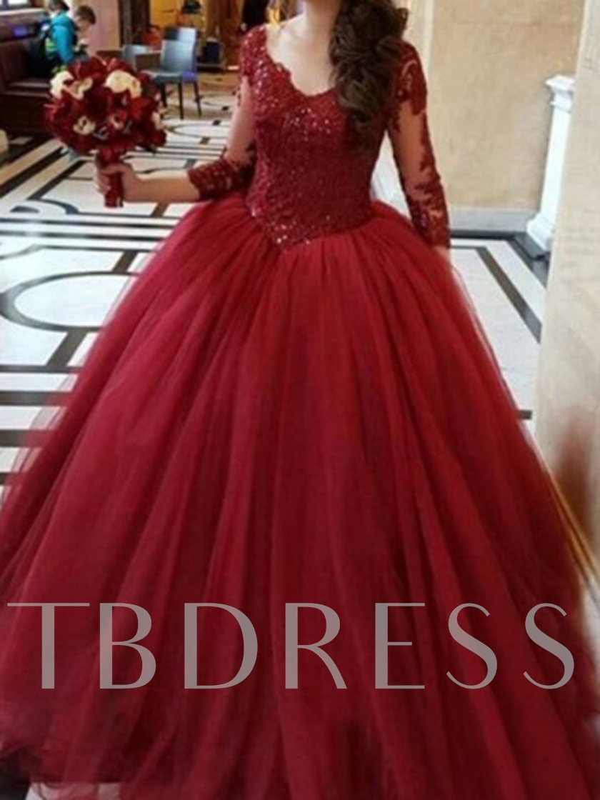 Appliques Floor-Length Ball Gown 3/4 Length Sleeves Quinceanera Dress 2019