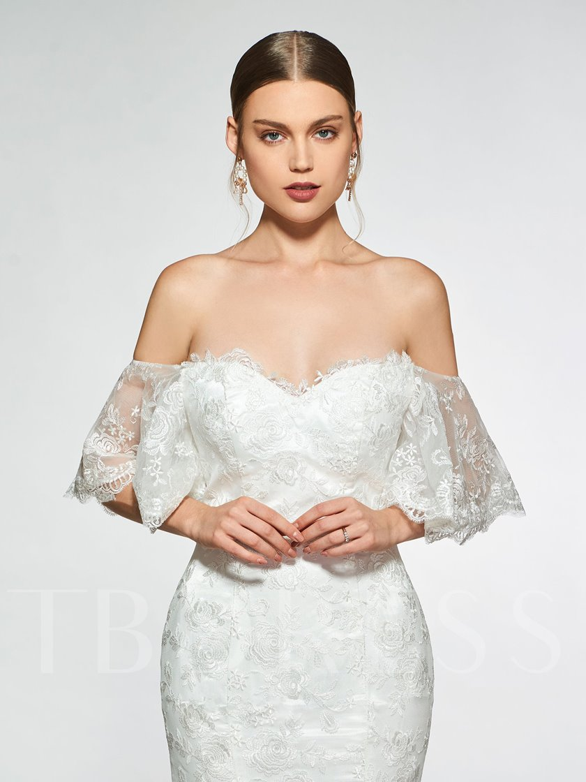 Mermaid Off-The-Shoulder Short Sleeves Lace Wedding Dress 2019