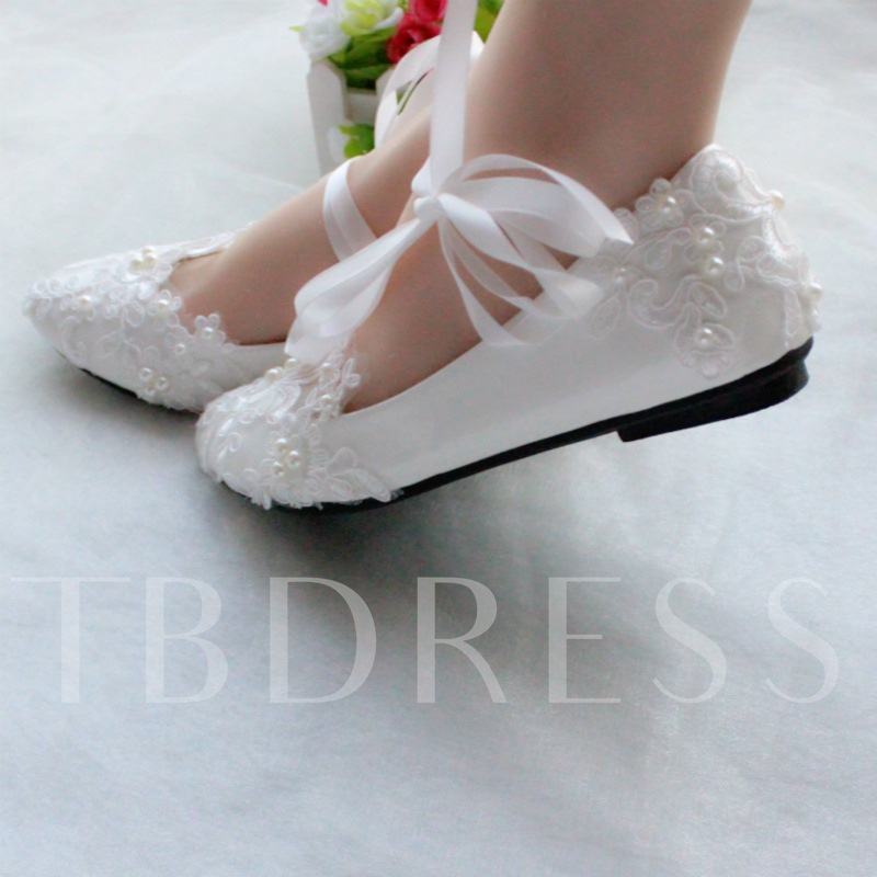 Ribbons Round Toe Flat Floral Lace Wedding Shoes