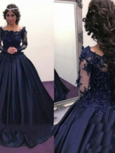 Appliques Off-The-Shoulder Ball Gown Long Sleeves Evening Dress 2019