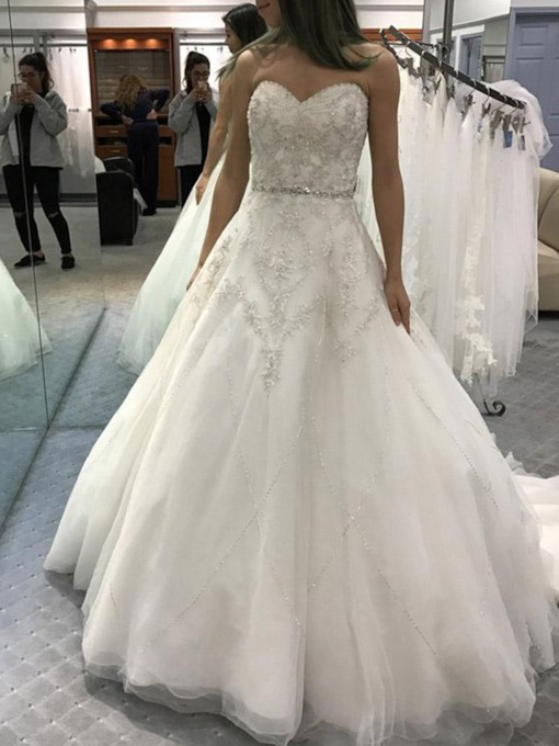 Appliques Beading Court Train Wedding Dress 2019