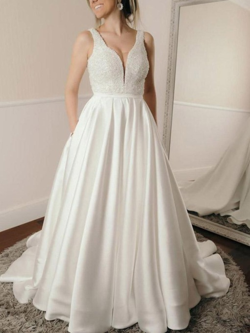 Straps Beading Pockets Wedding Dress 2019
