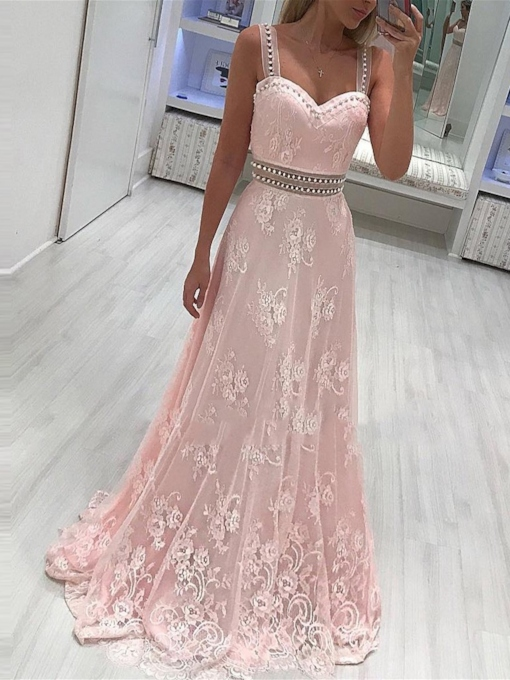 Sleeveless A-Line Straps Beading Evening Dress 2019