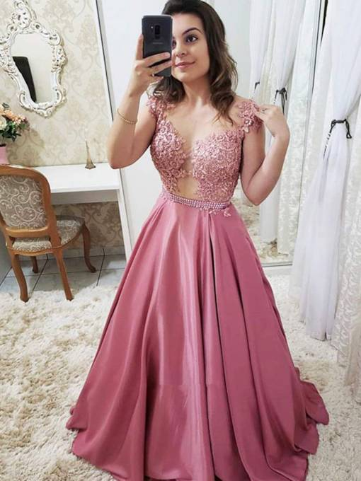 Appliques A-Line Sleeveless Floor-Length Evening Dress 2019