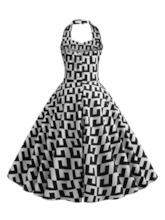 Sleeveless Print Color Block Halter Women's Day Dress