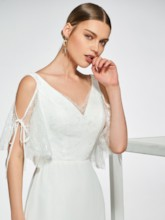 Mermaid Button Lace Cold Shoulder Wedding Dress 2019