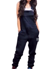 Pocket Casual Full Length Letter Slim Women's Jumpsuit