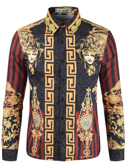 African Fashion Ethnic Lapel Floral Print Men's Shirt