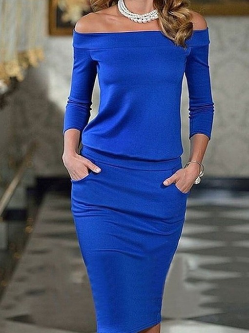 Long Sleeve Pullover Plain Women's Sheath Dress