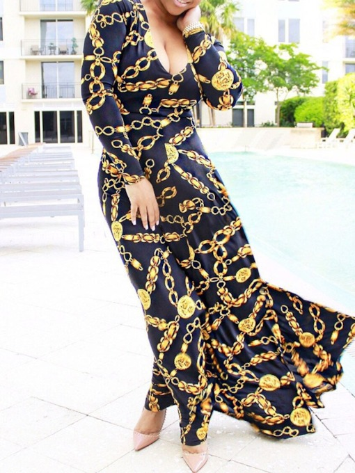 Long Sleeve Print Round Neck Regular Women's Maxi Dress