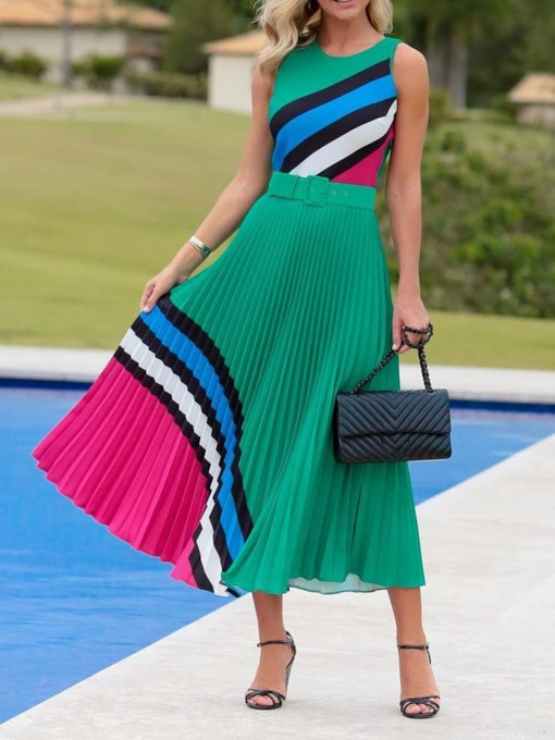 Round Neck Patchwork Sleeveless Color Block Women's Maxi Dress