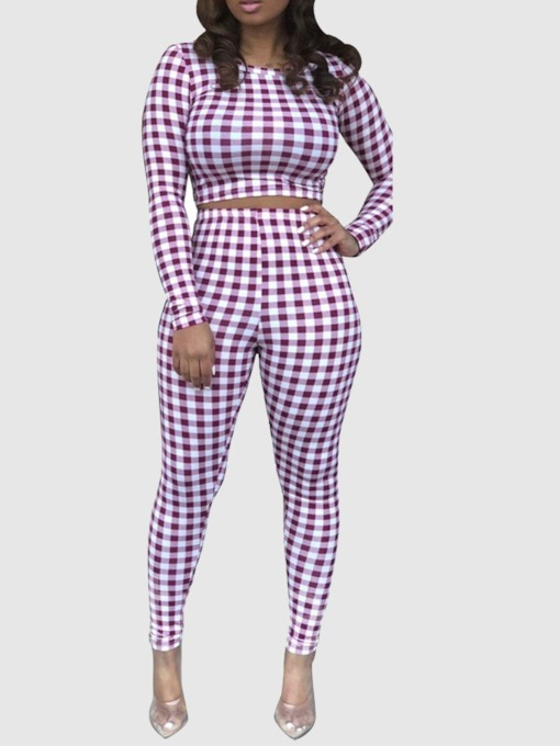 Plaid Casual Pants Round Neck Women's Two Piece Sets